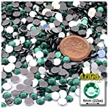 The Crafts Outlet 1000-Piece Flat Back Round Rhinestones, 5mm, Emerald Green