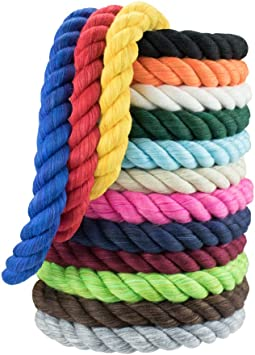 Super Soft 3 Strand Twisted Cotton Rope Black, 1//4 Inch x 10 Feet