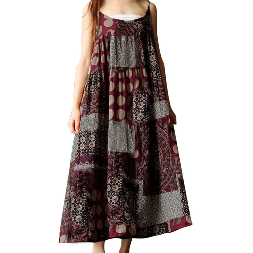 Dress for Women,JFLYOU Plus Size Bohemian Print Cotton Linen Loose Strippy Long Dresses(Red,S)