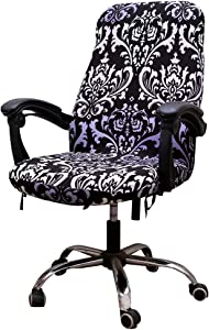 Unimore Computer Chair Cover Stretchable Office Chair Cover with Zippers and Tie Ropes for Rotating Boss Chair Medium Size, Chair not Included (Modern Flower Pattern)