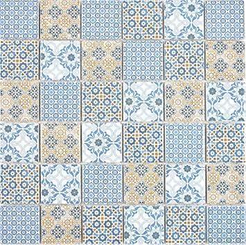 Ceramic Mosaic Retro Beige Yellow Blue White Mosaic Tile Wall Tile Mirror Kitchen Bathroom Amazon Co Uk Diy Tools