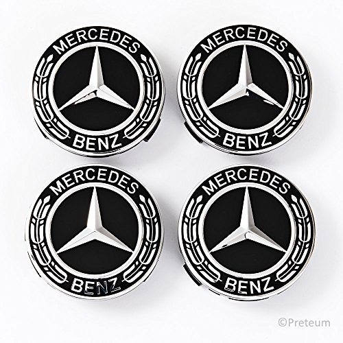 Chrome Caps Center Rim (Mercedes Benz Wheel Center Caps - Set of 4 Pcs - New - Best Stylish Finish for Your Light-Alloy Rims – MB Wheels Center Cap - 75mm / 3 Inch – Star with Laurel Wreath – Black – MB Hub Caps - Cover Logo)