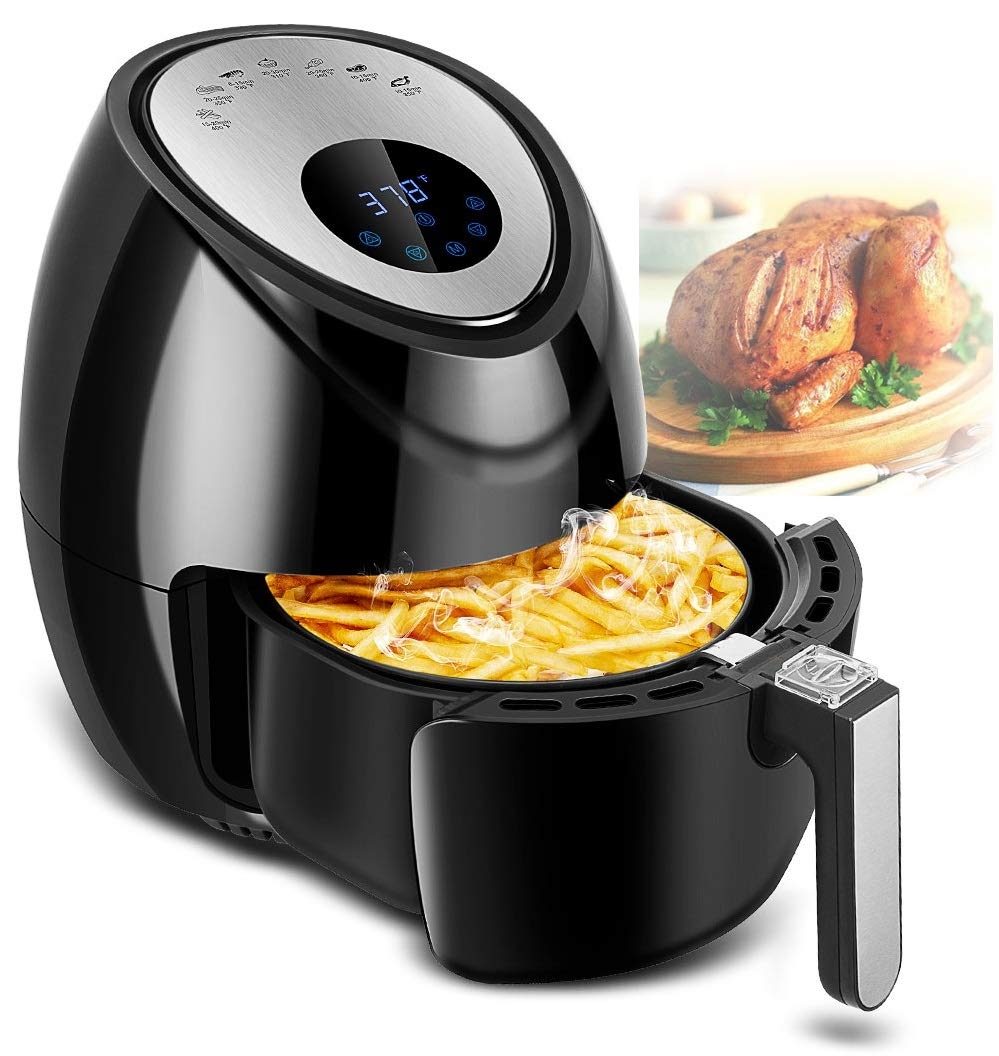 TOBOX Electric 1500W Digital Air Fryer Cooker Touchscreen 3.8QT with 7 in 1 Cooking Cookbook Temperature Control, Auto Shut off Feature Black