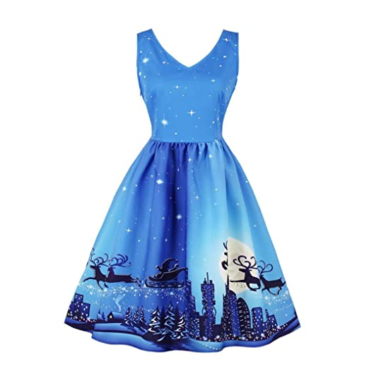 caeeca508fa5a Elogoog Women Christmas Dress Pin Up Swing 3D Print Sleeveless Plus Size  Party Mini Dresses
