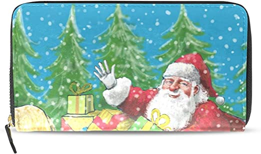 Women Wallet Purse Santa Clause Riding Reindeer Christmas Tree Snow Field Clutch Bag Leather