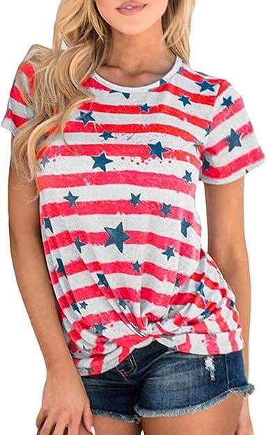 Camiseta De Verano para Mujer De Manga Corta con Estrellas Estampado De Casuales Mujeres con Cuello En O Tops De Rayas Blusa Elegante De Moda Camisas Básicas Tops: Amazon.es: Ropa y accesorios