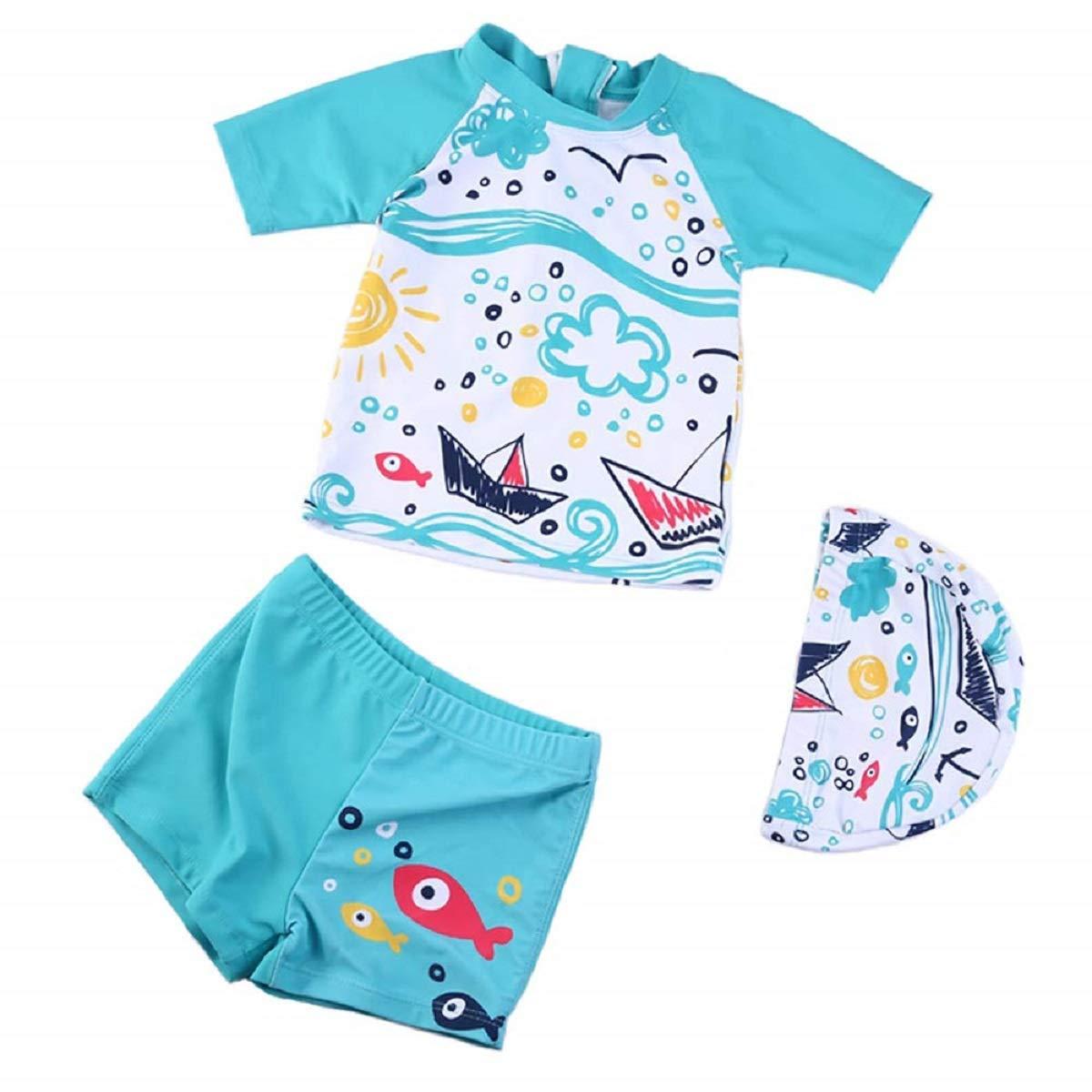 Toddler Baby Boys Short Sleeve Sun Protection Dinosaur Swimsuit Three Piece Kids Little Boys Rash Guard Round Neck Swimwear