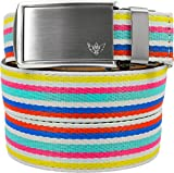 SlideBelts Women's Canvas Belts - Birthday Cake with Winged Silver Buckle (Trim-to-fit: Up to 48'' Waist)