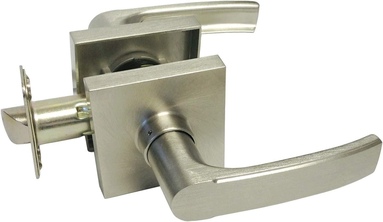 Passage Satin Nickel Brushed Nickel Square Plate Door Locks Closet Round Knobs