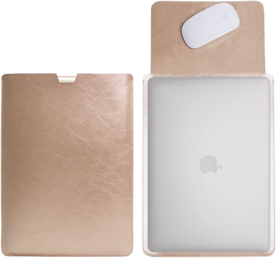 """WALNEW 13 Inch Laptop Sleeve Case for 13"""" MacBook Air 2020/2019/2018 & MacBook Pro 2020/2019/2018/2017/2016, Soft Protective Pouch MacBook Case Bag with Built-in Mouse Pad, Gold"""