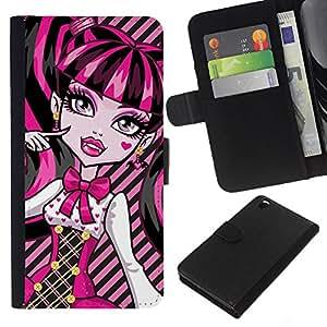 All Phone Most Case / Oferta Especial Cáscara Funda de cuero Monedero Cubierta de proteccion Caso / Wallet Case for HTC DESIRE 816 // Pink Neon Schoolgirl Doll Face Big Eyes