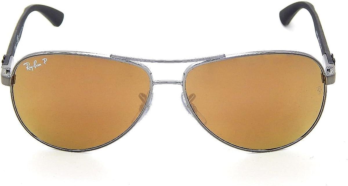 neu Ray Ban Carbon Fibre Rb8313 004/N3 Shiny Gunmetal / Brown Mirror Gold Polar 58Mm Sunglasses