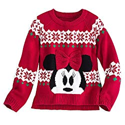 Disney Kids Minnie Mouse Red Bow Holiday Sweater 7/8 Red