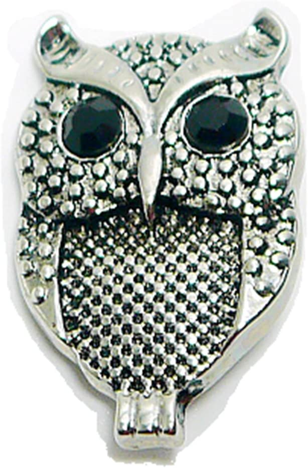 Ladieshow Snap Ring with Owl Blue Rhinestone Charm Snap Buttons