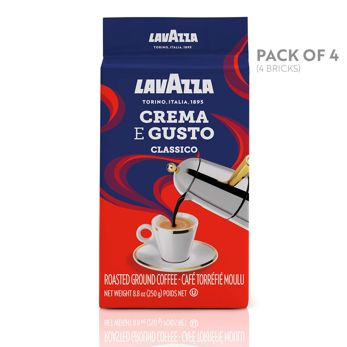 Lavazza Crema e Gusto Ground Coffee Blend, Espresso Dark Roast, 8.8-Ounce Bags (Pack of 4).