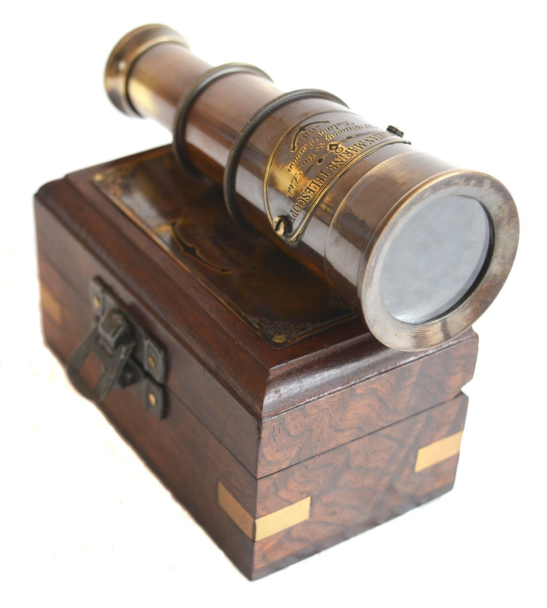 SA International Brass Antique Finish 6'''' Victorian Marine Handheld Mini Telescope with Wooden Box Nautical Gift by SA International (Image #1)