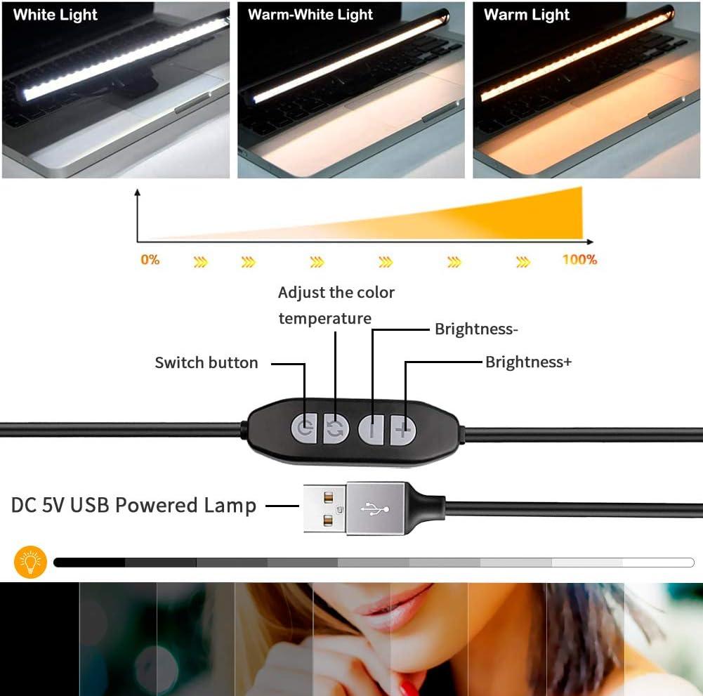 3 Colores Regulables Luz Lectura Libros L/ámpara Ordenador Colgante L/ámpara Escritorio con Alimentaci/ón USB Welltop 40 CM L/ámpara Lectura Electr/ónica LED