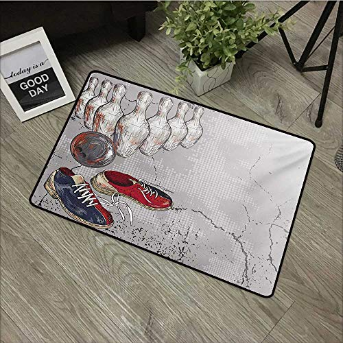 - Bedroom Door mat W24 x L35 INCH Bowling Party,Bowling Shoes Pins and Ball in Artistic Grunge Style Print,Pale Grey Red and Dark Blue Natural dye Printing to Protect Your Baby's Skin Non-Slip Door Mat
