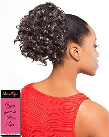 Amazon.com   DS006 Ponytail Color 280 - Foxy Silver Wigs Drawstring Curly  Hairpiece Dome Short Synthetic African American Womens Bundle w MaxWigs  Hairloss ... 72784f3b2