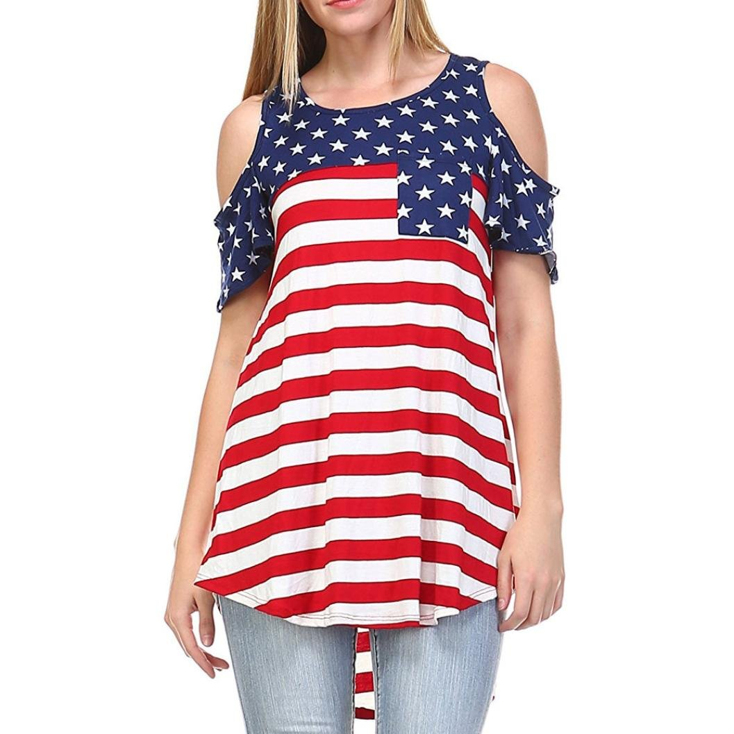 Amazon.com: DondPO 2018 Newest Short Sleeve T Shirt, Womens American Flag Shirt Patriotic Tank Tops Regular and Plus Size O-Neck Strapless Tops Shirt ...