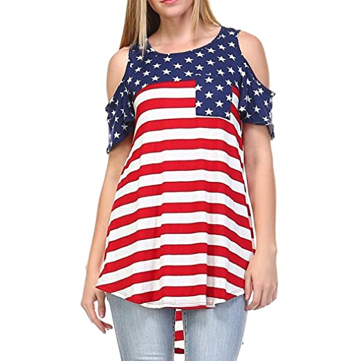 DondPO 2018 Newest Short Sleeve T Shirt, Womens American Flag Shirt Patriotic Tank Tops Regular
