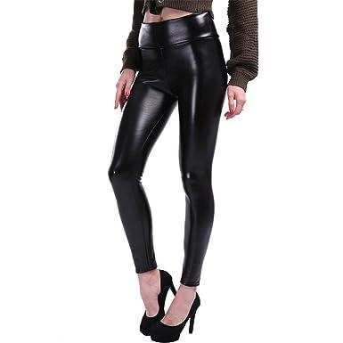 4f96c86c0552 chiced S-5XL Plus Size Leather Leggings Women High Waist Leggings Stretch  Slim Black Legging Fashion PU Leather Pants Women at Amazon Women s  Clothing store ...