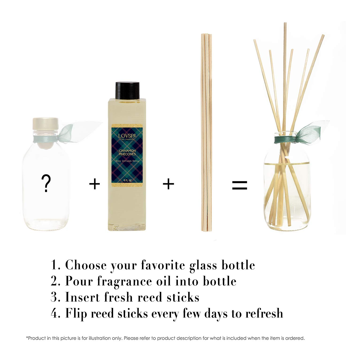 LOVSPA Cinnamon Pinecones Reed Diffuser Oil Refill with Replacement Reed Sticks Fragrances | Woody Pinecones, Fir Needles Cinnamon & Cloves | Replenish You Existing Scent Diffuser by LOVSPA (Image #2)