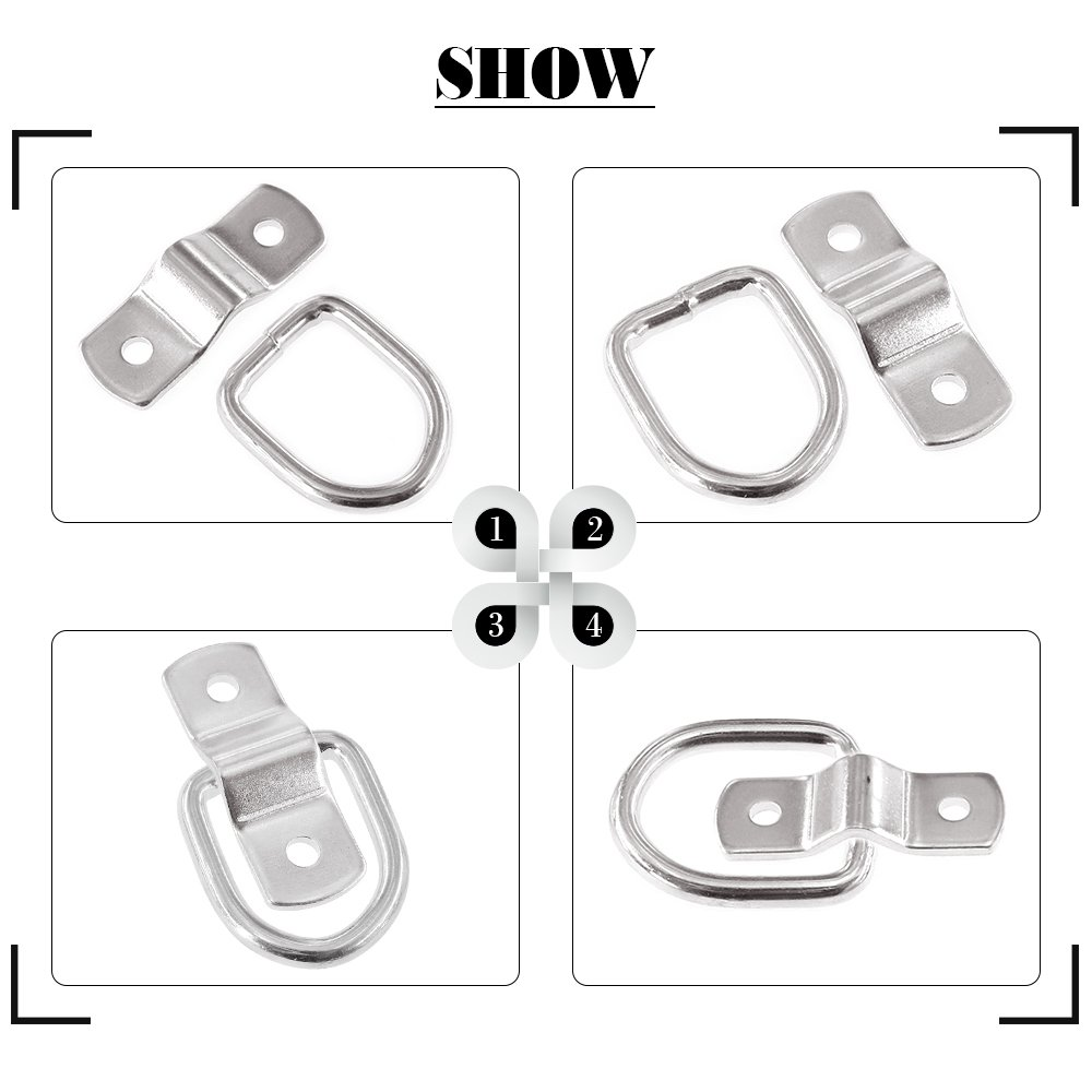 Deliveries 1//4 Strong Steel D Rings for Loads on Trucks Trailers ATVs Vans; Strong D Ring TieDowns for Kayaks Motorcycles RV Campers Glarks 12-Pack Heavy Duty D Rings Tie-Down Anchors Boats