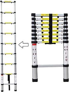 Sotech - Escalera Plegable, Escalera Telescópica, 2,6 Metro(s), EN 131-6, Brecha extra, Carga máxima: 150 kg, Número de peldaños: 9: Amazon.es: Bricolaje y herramientas