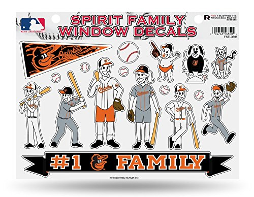 Rico Industries, Inc. Baltimore Orioles Family Spirit Decal Sheet Glass Window Stickers Auto Decals Baseball (Baltimore Orioles Glass)