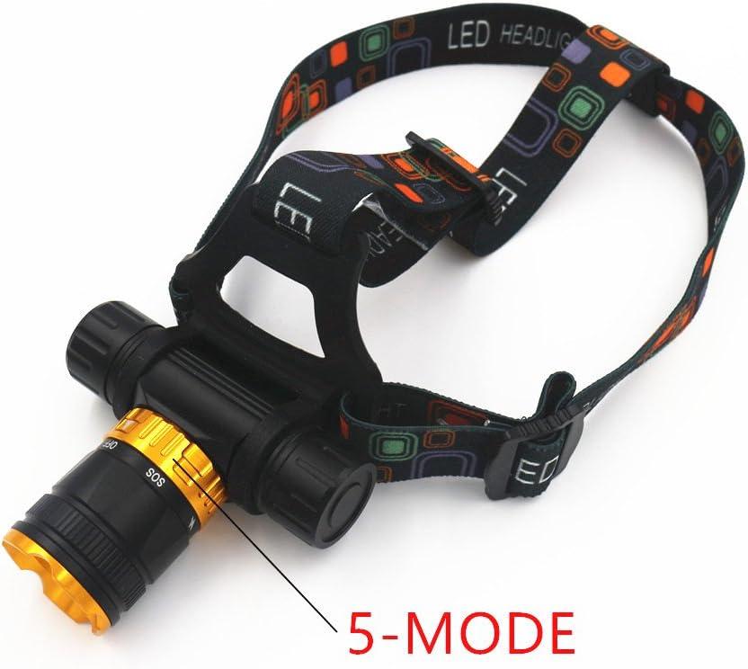 GSDJU Super Brillante,Recargable,Acampar,XML-T6 LED 5-Mode Dive Waterproof Scuba Diving Headlamp Headlight Underwater Work Flashlight Torch Light Lamp