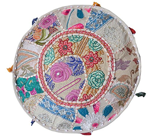 Aakriti Gallery Indian Pouf Footstool Ethnic Embroidered Pouf Cover, Indian Cotton Round Pouffe Ottoman Pouf Cover Pillow Ethnic Decor Art - Cover Only (18x13inch) (Beige) by Aakriti Gallery (Image #2)