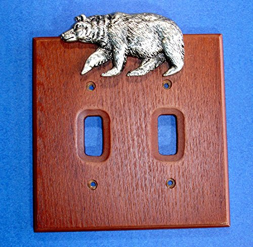 Western Decor Pewter Bear Double Light Switch Cover
