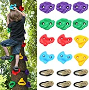 12 PCS Tree Climbing Holds for Kids Climber, Adult Climbing Rocks with 6 Ratchet Straps for Outdoor Ninja Warr