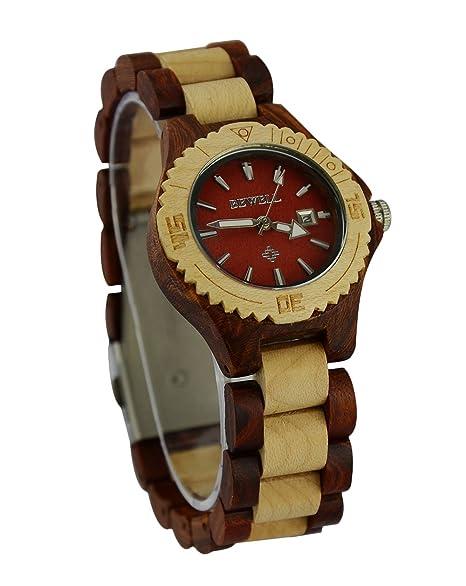 ideashop® Fashion unique Natural redondo rojo y blanco de madera reloj ecológico muñeca reloj japón