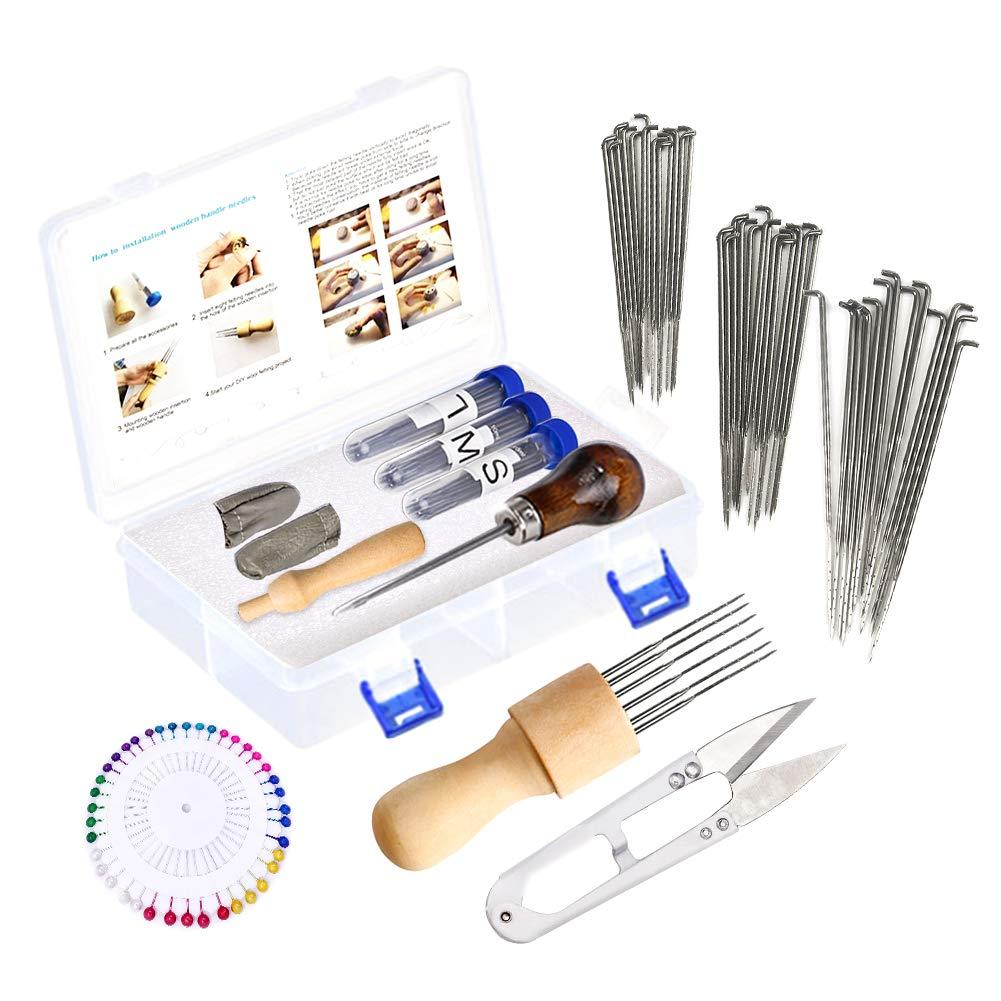 126 Pcs Felting Tools Kit, 3 Sizes Wool Felting Needles with Awl, Foam Mat, Wooden Handle, Scissors, Ball Pins and Instruction, Needle Felting Supplies for DIY Needle Felting Starter