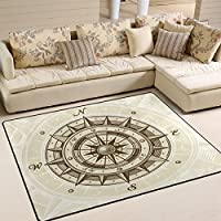 LORVIES Vintage Compass Area Rug Carpet Non-Slip Floor Mat Doormats for Living Room Bedroom 63 x 48 inches