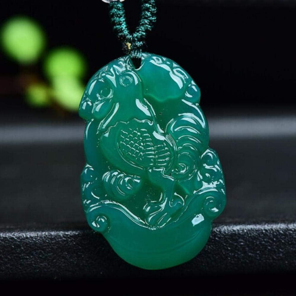 VFJLR Colgante Ágata Verde Natural Jade Zodiaco Chino Colgante Collar Encanto de la Moda Accesorios de joyería Amuleto de la Suerte Tallado a Mano Regalos