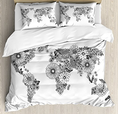 Ambesonne Floral World Map Duvet Cover Set Queen Size, Floral Planet Petals with Butterflies Flying on Continents Oceans Graphic, Decorative 3 Piece Bedding Set with 2 Pillow Shams, Black White