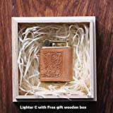 Personalized gift Vintage Lighter Genuine Leather cover FREE Engraving SN-001C