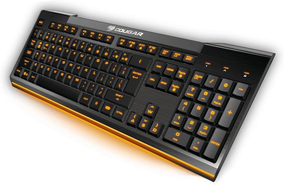 Cougar Teclado de Juego 200K - Sensación Estilo Laptop - Iluminación en 7 Colores - Botones de Tijera Planos - Teclas Multimedia IN - FR Layout - ...