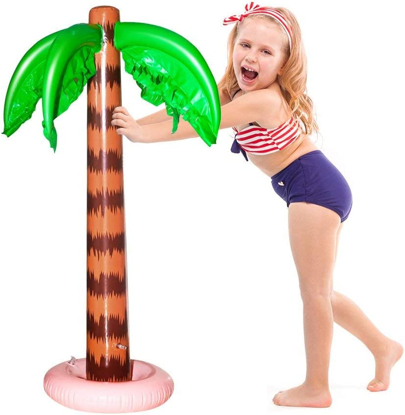 MODOLO 2 Pack Inflatable Palm Trees 90 CM Coconut Trees Beach Backdrop Favor for Tropical Hawaiian Luau Party Decoration