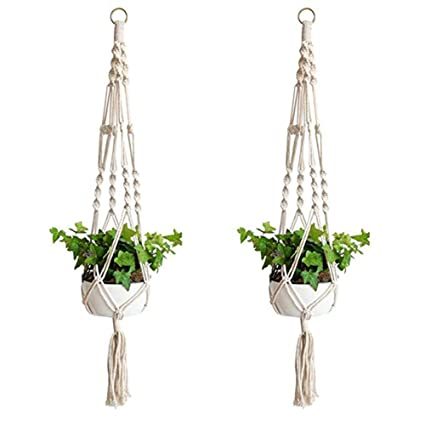 Fablcrew Lot De 2pcs Pot De Fleur Plante Suspension En Corde