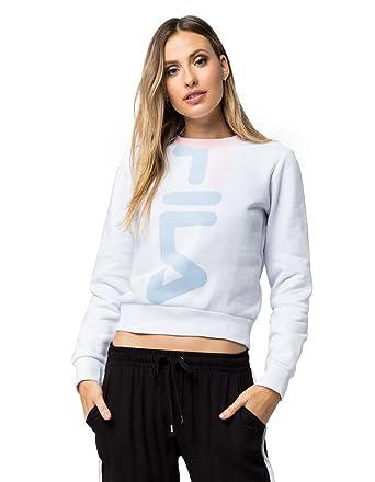 a173e995f7 Fila Women's Mona Cropped Sweatshirt, White, Skyway, Rosabella, XL ...