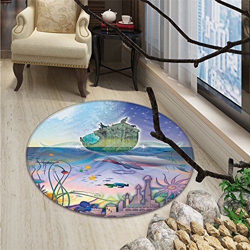 Navy Round Rug Kid Carpet Ancient Underwater with Octopus and Castle Pirate Ship Coral Reefs Fantasy Art PrintOriental Floor and Carpets Multicolor