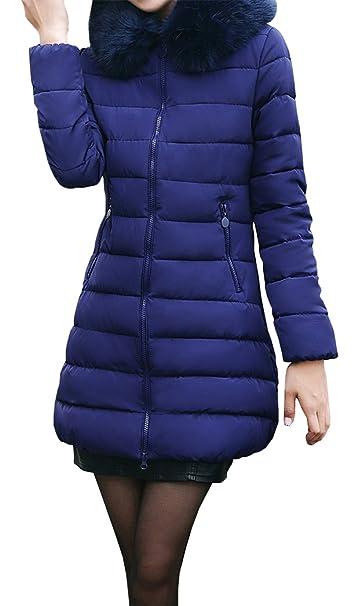 Yeesea Mujer Chaqueta Abrigo Parka Espesar con Capucha Pelaje Collar de  Invierno Jacket Azul X-Large  Amazon.es  Ropa y accesorios 37bf3361bb96