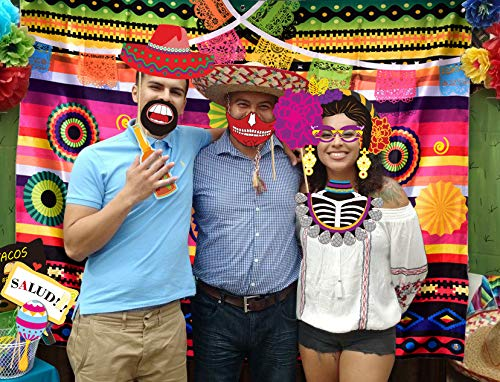 Fiesta Theme Photography Backdrop Mexican Themed Dress-up Photobooth for Summer Fiesta Luau Theme Cinco De Mayo Birthday Pool Party Supplies Decorations by TMCCE (Image #5)