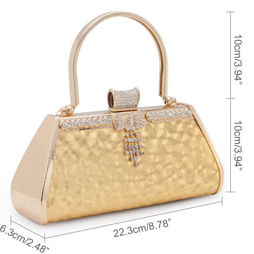 Amazon.com: Mujer Vintage Noche Clutch Bolsa de la Boda Oro ...