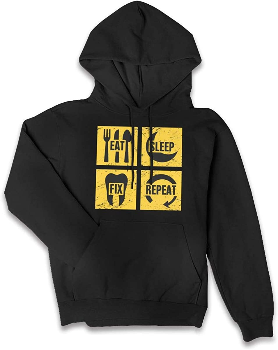Repeat Womens Pullover Hoodie Sweatshirt with Pocket Eat Sleep Fix