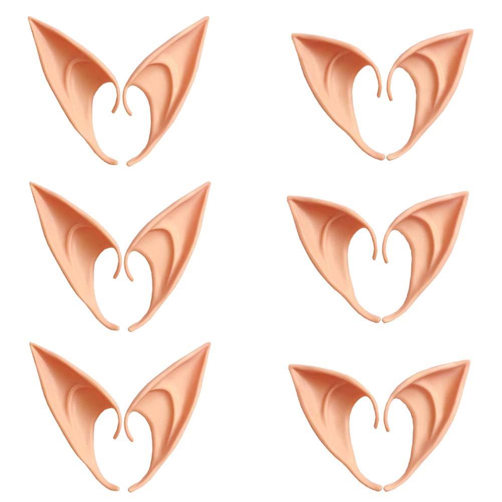 QHZHANG 6 Pairs Cosplay Masks Soft Pointed Ears Fairy Goblin Ears, 3 Pairs Long + 3 Pairs Short (Dark Skin)